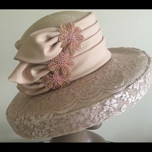 Blush Colored Soft Ribbon and Lace Wrapped Hat
